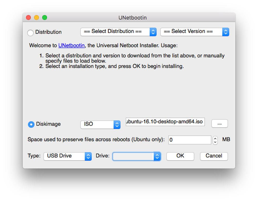 UNetbootin Screen