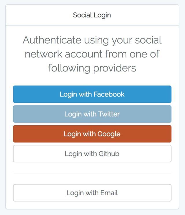 social login screen